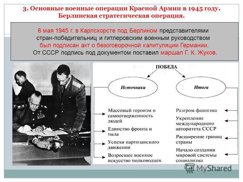 3. Основные военные операции Красной Армии в 1945 году. Берлинская стратегическая операция. 8 мая 1945 г. в Карлсхорсте под Берлином представителями стран-победительниц и гитлеровским военным руководством был подписан акт о безоговорочной капитуляции