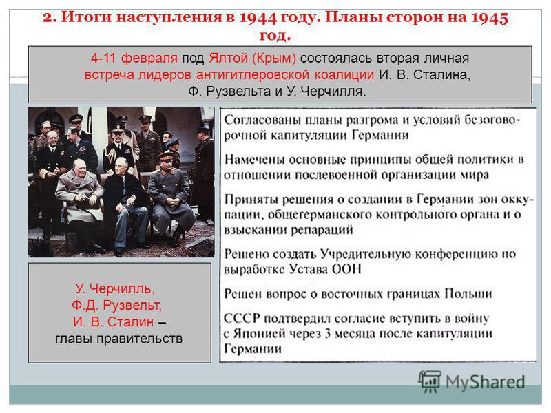 2. Итоги наступления в 1944 году. Планы сторон на 1945 год. 4-11 февраля под Ялтой (Крым) состоялась вторая личная встреча лидеров антигитлеровской коалиции И. В. Сталина, Ф. Рузвельта и У. Черчилля. У. Черчилль, Ф.Д. Рузвельт, И. В. Сталин – главы п