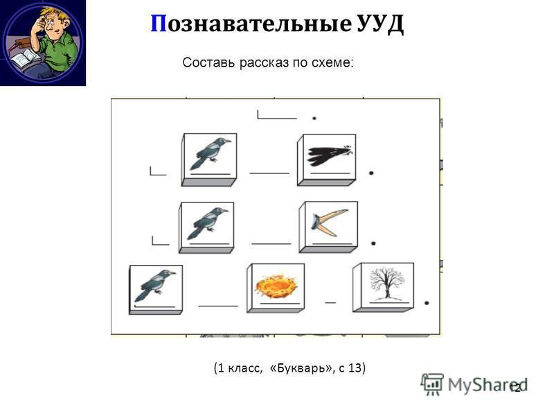 12 Познавательные УУД Составь рассказ по схеме: (1 класс, « Букварь », с 13)