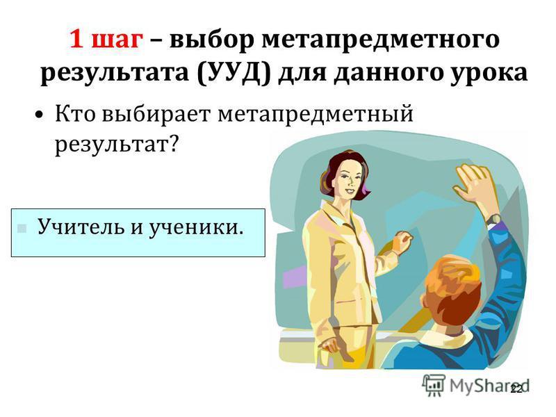 1 шаг – выбор метапредметного результата ( УУД ) для данного урока Кто выбирает метапредметный результат ? 22 Учитель и ученики.