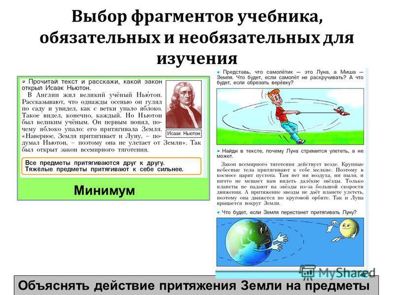 Минимум Выбор фрагментов учебника, обязательных и необязательных для изучения 31 Объяснять действие притяжения Земли на предметы Минимум