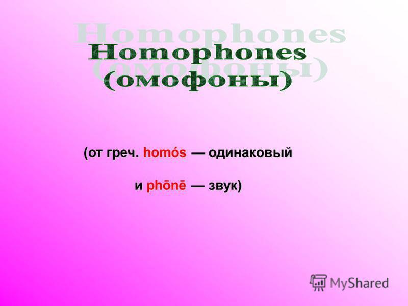 (от греч. homós одинаковый и phōnē звук)