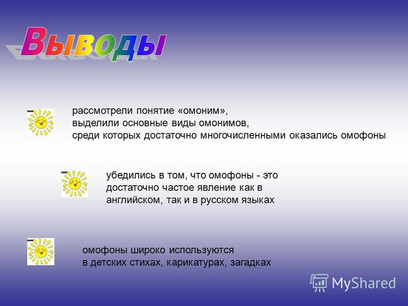 рассмотрели понятие «омоним», выделили основные виды омонимов, среди которых достаточно многочисленными оказались омофоны убедились в том, что омофоны - это достаточно частое явление как в английском, так и в русском языках омофоны широко используютс