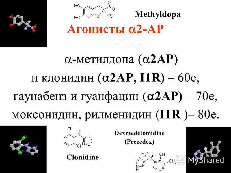Агонисты 2-АР -метилдопа ( 2АР) и клонидин ( 2АР, I1R) – 60 е, гаунабенз и гуанфацин ( 2АР) – 70 е, моксонидин, рилменидин (I1R )– 80 е. Clonidine Dexmedetomidine (Precedex) Methyldopa