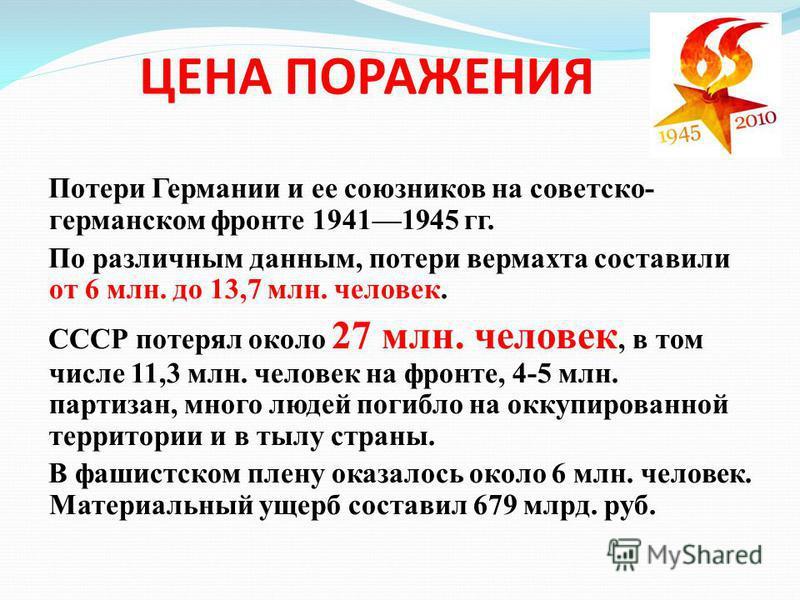 ЦЕНА ПОРАЖЕНИЯ Потери Германии и ее союзников на советско- германском фронте 19411945 гг. По различным данным, потери вермахта составили от 6 млн. до 13,7 млн. человек. СССР потерял около 27 млн. человек, в том числе 11,3 млн. человек на фронте, 4-5
