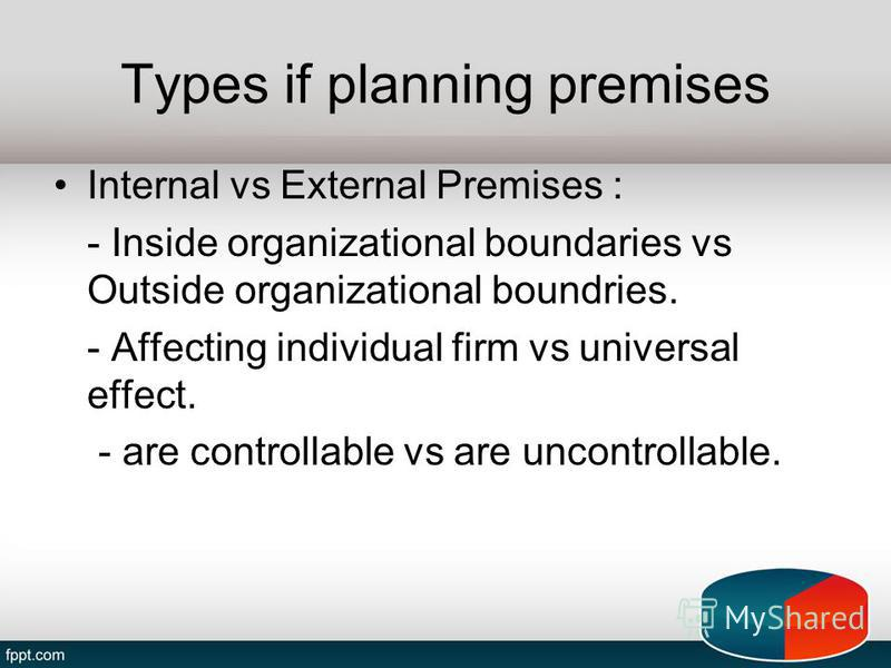 Types if planning premises Internal vs External Premises : - Inside organizational boundaries vs Outside organizational boundries. - Affecting individual firm vs universal effect. - are controllable vs are uncontrollable.