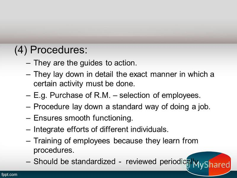 (4) Procedures: –They are the guides to action. –They lay down in detail the exact manner in which a certain activity must be done. –E.g. Purchase of R.M. – selection of employees. –Procedure lay down a standard way of doing a job. –Ensures smooth fu