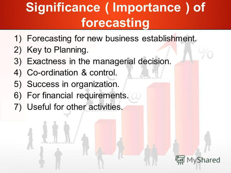 Significance ( Importance ) of forecasting 1)Forecasting for new business establishment. 2)Key to Planning. 3)Exactness in the managerial decision. 4)Co-ordination & control. 5)Success in organization. 6)For financial requirements. 7)Useful for other