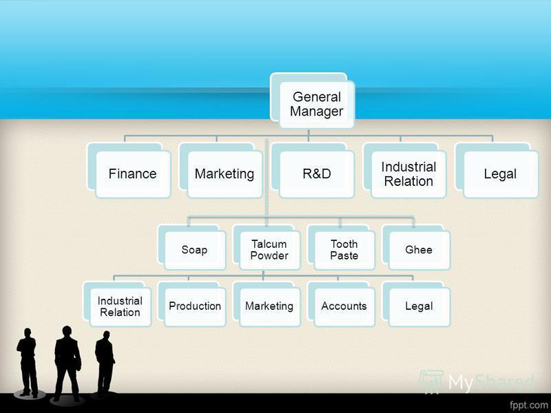 General Manager FinanceMarketingR&D Industrial Relation Legal Soap Talcum Powder Industrial Relation ProductionMarketingAccountsLegal Tooth Paste Ghee