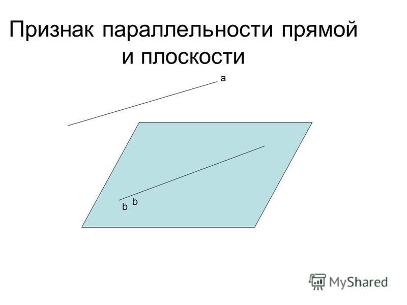 Признак параллельности прямой и плоскости а b b