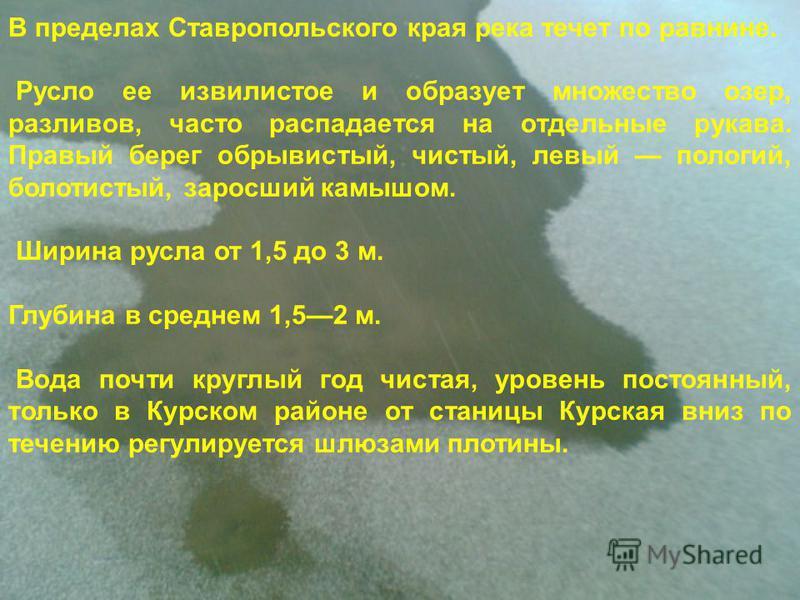 В пределах Ставропольского края река течет по равнине. Русло ее извилистое и образует множество озер, разливов, часто распадается на отдельные рукава. Правый берег обрывистый, чистый, левый пологий, болотистый, заросший камышом. Ширина русла от 1,5 д