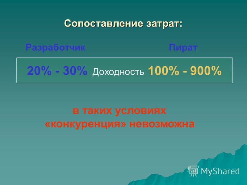 Сопоставление затрат: Разработчик Пират 20% - 30% Доходность 100% - 900% в таких условиях «конкуренция» невозможна