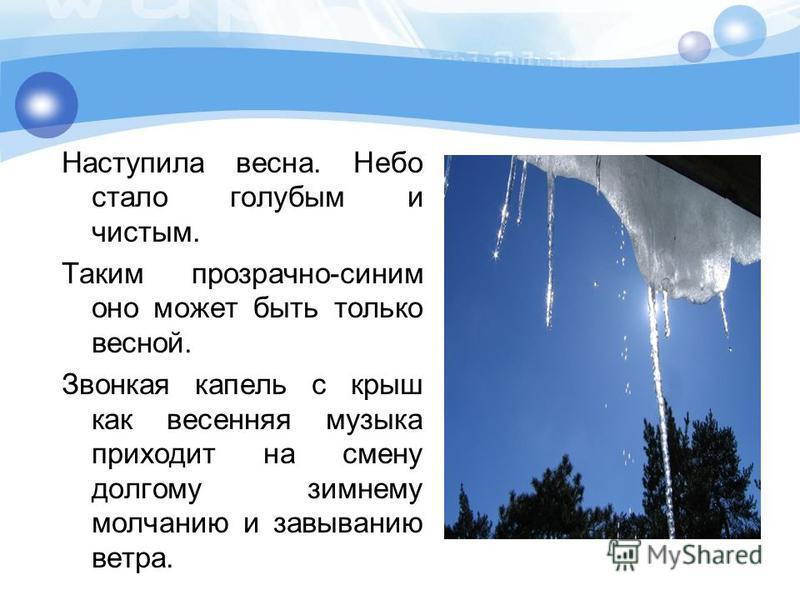 Наступила весна. Небо стало голубым и чистым. Таким прозрачно-синим оно может быть только весной. Звонкая капель с крыш как весенняя музыка приходит на смену долгому зимнему молчанию и завыванию ветра.