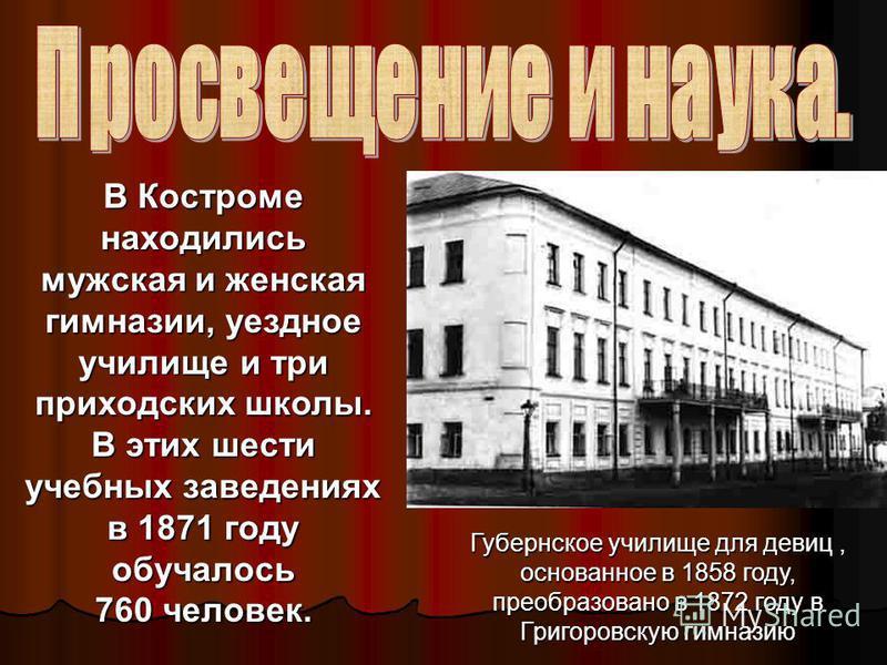 Культура Костромского края во второй половине XIX века.
