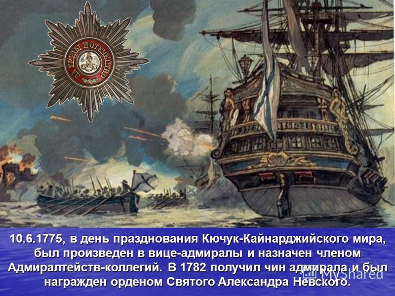 10.6.1775, в день празднования Кючук-Кайнарджийского мира, был произведен в вице-адмиралы и назначен членом Адмиралтейств-коллегий. В 1782 получил чин адмирала и был награжден орденом Святого Александра Невского.