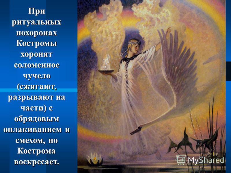 При ритуальных похоронах Костромы хоронят соломенное чучело (сжигают, разрывают на части) с обрядовым оплакиванием и смехом, но Кострома воскресает.