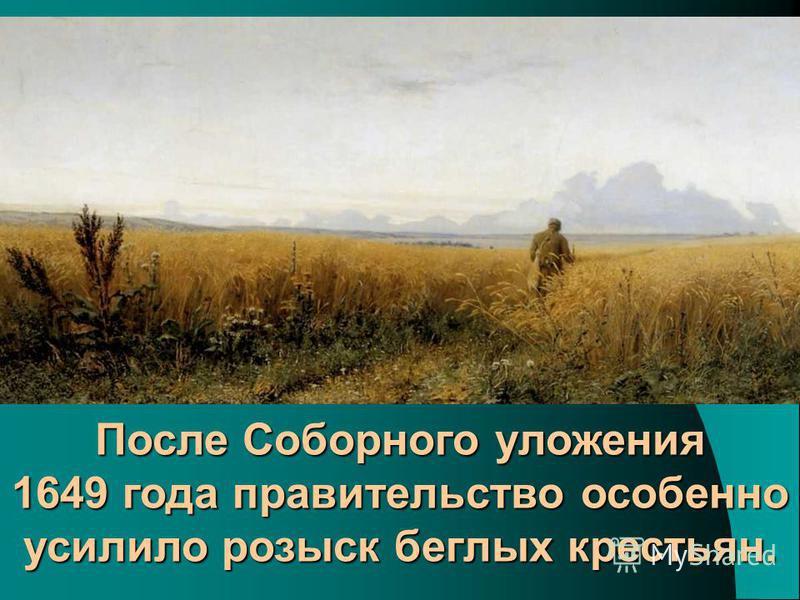 После Соборного уложения 1649 года правительство особенно усилило розыск беглых крестьян.