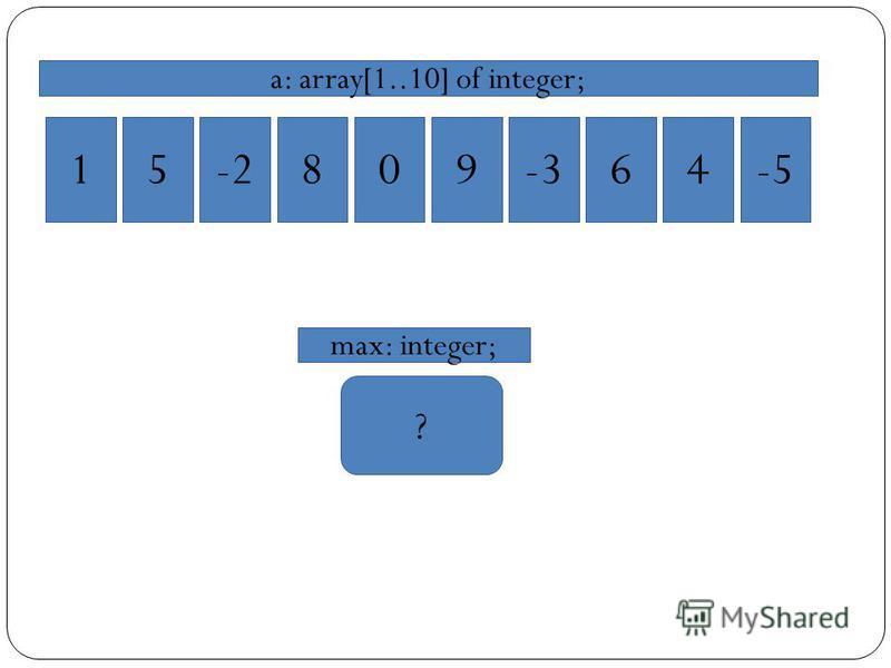 15-2809-364-5 a: array[1..10] of integer; ? max: integer;