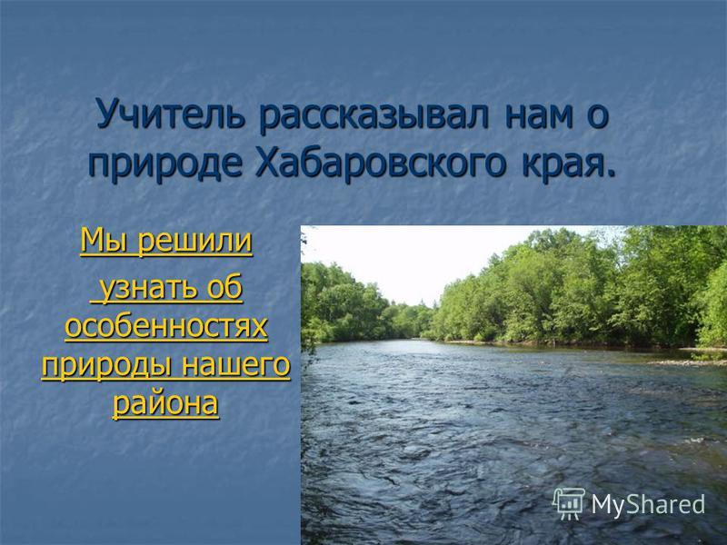 Учитель рассказывал нам о природе Хабаровского края. Мы решили узнать об особенностях природы нашего района узнать об особенностях природы нашего района