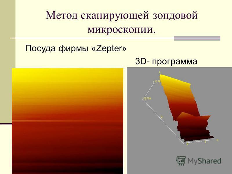 Метод сканирующей зондовой микроскопии. Посуда фирмы «Zepter» 3D- программа