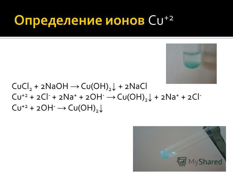 CuCl 2 + 2NaOH Cu(OH) 2 + 2NaCl Cu +2 + 2Cl - + 2Na + + 2OH - Cu(OH) 2 + 2Na + + 2Cl - Cu +2 + 2OH - Cu(OH) 2