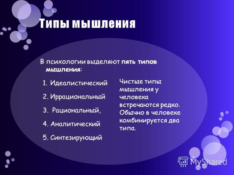 Чистые типы мышления у человека встречаются редко. Обычно в человеке комбинируется два типа.