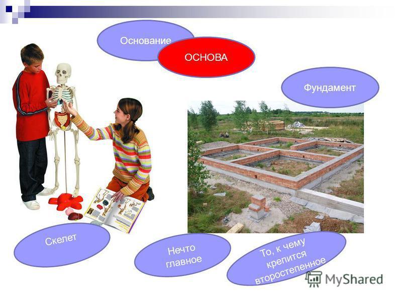Основание Нечто главное Фундамент Скелет То, к чему крепится второстепенное ОСНОВА