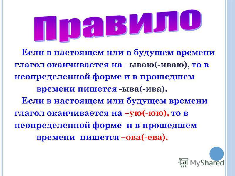 Если в настоящем или в будущем времени глагол оканчивается на –ббывао(-ивао), то в неопределенной форме и в прошедшем времени пишется -ыва(-ива). Если в настоящем или будущем времени глагол оканчивается на –ую(-юю), то в неопределенной форме и в прош