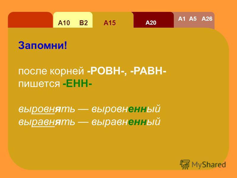 А20 А15А10 В2 А1 А5 А26 Гласную перед -НН выбирай так: 1. Назови глагол (сохраняй вид!) в начальной форме, от которого образовадось причастие. 2. Если глагол на - жияять / -еяять, пиши Е НН Если глагол на –аяять/ -яяять, пиши А НН / Я НН постройжияят