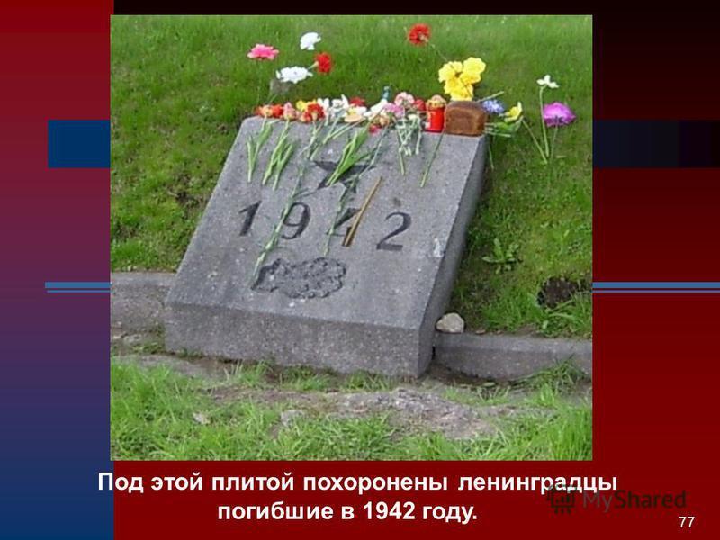 77 Под этой плитой похоронены ленинградцы погибшие в 1942 году.