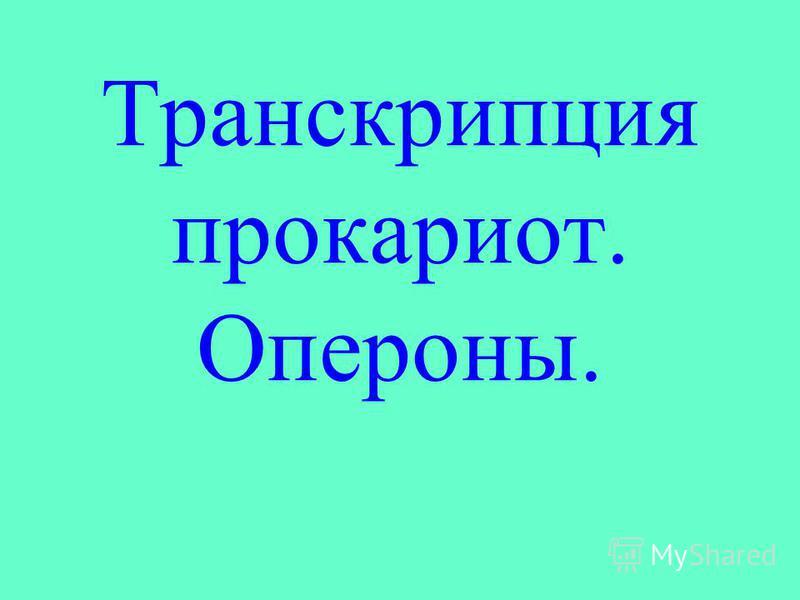 Транскрипция прокариот. Опероны.