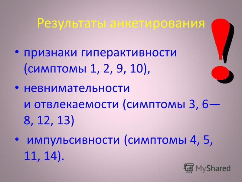 Результаты анкетирования признаки гиперактивности (симптомы 1, 2, 9, 10), невнимательности и отвлекаемости (симптомы 3, 6 8, 12, 13) импульсивности (симптомы 4, 5, 11, 14).