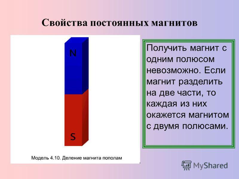 Свойства постоянных магнитов Получить магнит с одним полюсом невозможно. Если магнит разделить на две части, то каждая из них окажется магнитом с двумя полюсами.