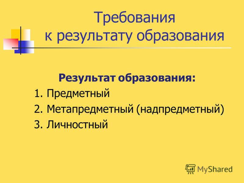 Требования к результату образования Результат образования: 1. Предметный 2. Метапредметный (надпредметный) 3. Личностный