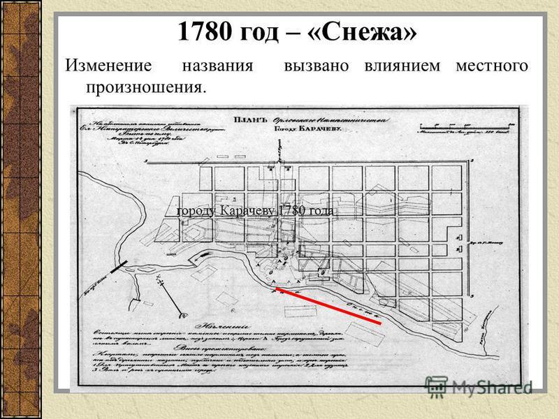 1780 год – «Снежа» Изменение названия вызвано влиянием местного произношения. городу Карачеву 1780 года