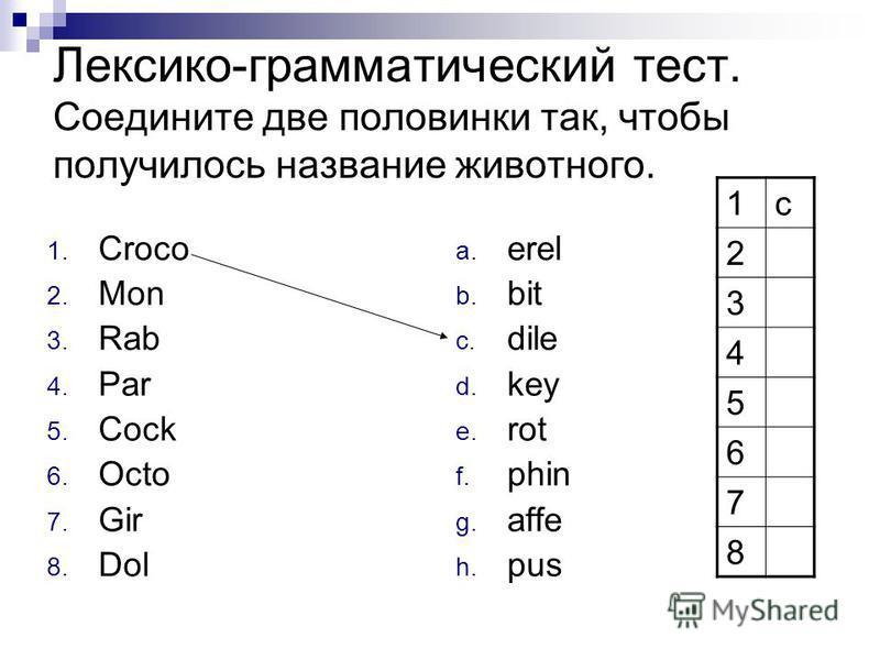 Лексико-грамматический тест. Соедините две половинки так, чтобы получилось название животного. 1. Croco 2. Mon 3. Rab 4. Par 5. Cock 6. Octo 7. Gir 8. Dol a. erel b. bit c. dile d. key e. rot f. phin g. affe h. pus 1 с 2 3 4 5 6 7 8
