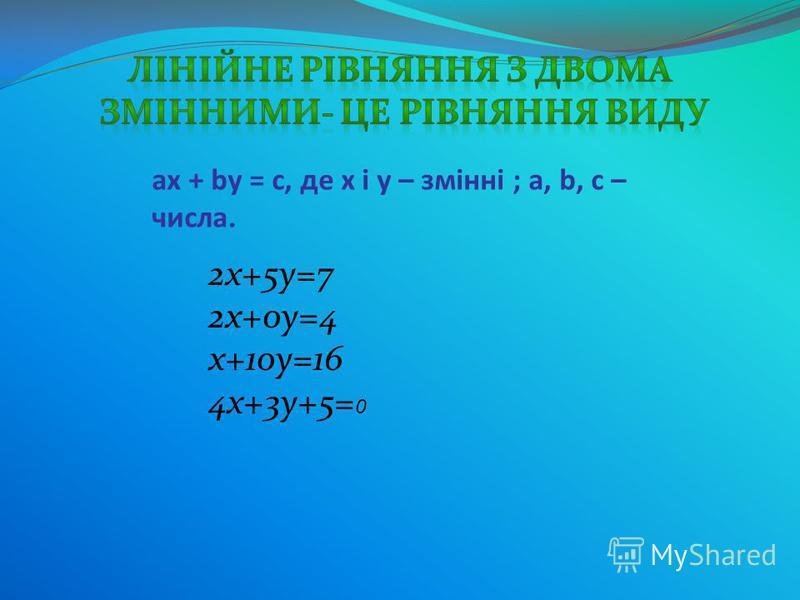 ax + by = c, де x і y – змінні ; a, b, c – числа. 2х+5у=7 2х+0у=4 х+10у=16 4х+3у+5= 0