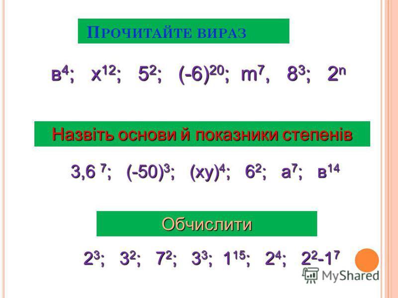 П РОЧИТАЙТЕ ВИРАЗ Назвіть основи й показники степенів в 4 ; х 12 ; 5 2 ; (-6) 20 ; m 7, 8 3 ; 2 n 3,6 7 ; (-50) 3 ; (ху) 4 ; 6 2 ; а 7 ; в 14 Обчислити 2 3 ; 3 2 ; 7 2 ; 3 3 ; 1 15 ; 2 4 ; 2 2 -1 7