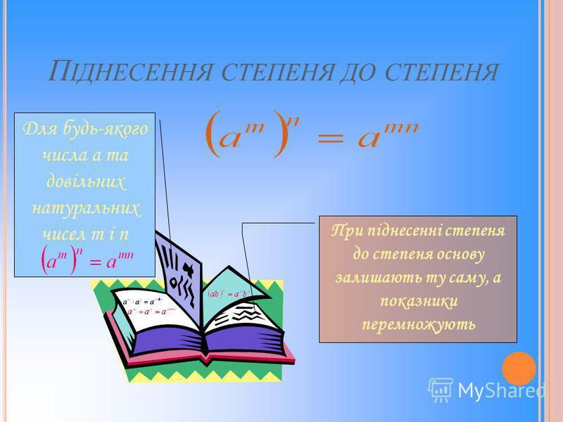 П ІДНЕСЕННЯ СТЕПЕНЯ ДО СТЕПЕНЯ Для будь-якого числа a та довільних натуральних чисел m і n При піднесенні степеня до степеня основу залишають ту саму, а показники перемножують