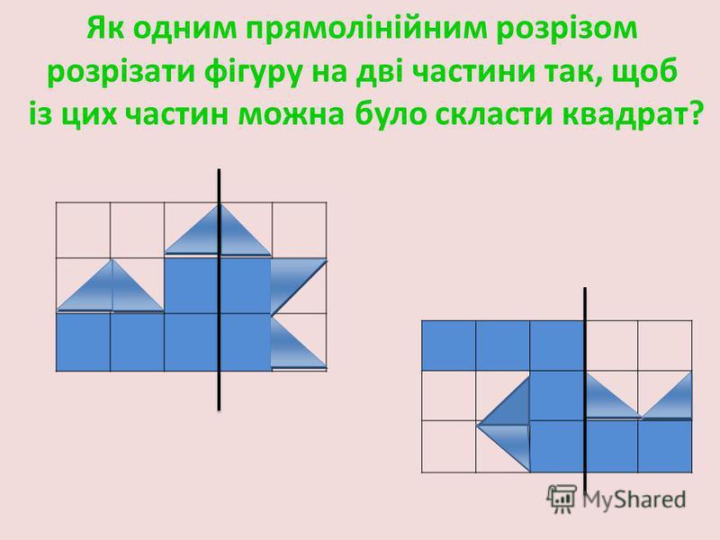 Як одним прямолінійним розрізом розрізати фігуру на дві частини так, щоб із цих частин можна було скласти квадрат?