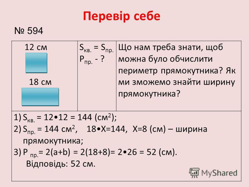 12 см 18 см S кв. = S пр. Р пр. - ? Що нам треба знати, щоб можна було обчислити периметр прямокутника? Як ми зможемо знайти ширину прямокутника? 1)S кв. = 1212 = 144 (см 2 ); 2)S пр. = 144 см 2, 18Х=144, Х=8 (см) – ширина прямокутника; 3)Р пр. = 2(а