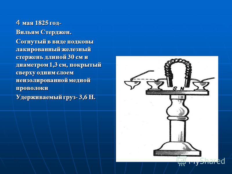 4 мая 1825 год- Вильям Стерджен. Согнутый в виде подковы лакированный железный стержень длиной 30 см и диаметром 1,3 см, покрытый сверху одним слоем неизолированной медной проволоки Удерживаемый груз- 3,6 Н.