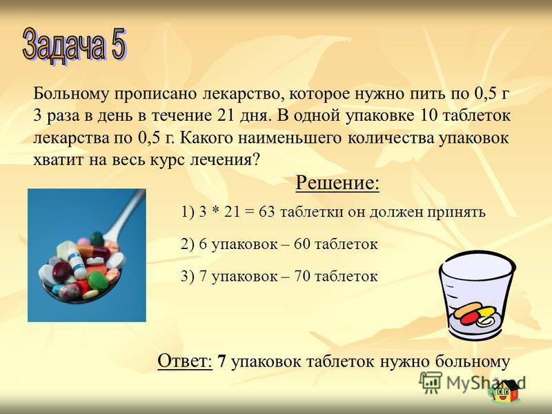 Больному прописано лекарство, которое нужно пить по 0,5 г 3 раза в день в течение 21 дня. В одной упаковке 10 таблеток лекарства по 0,5 г. Какого наименьшего количества упаковок хватит на весь курс лечения? Решение: 1) 3 * 21 = 63 таблетки он должен