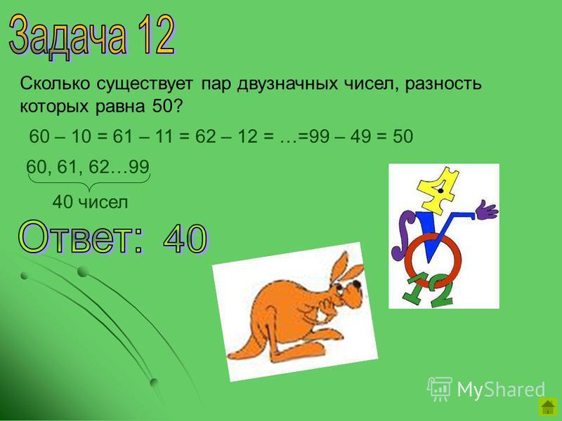 Сколько существует пар двузначных чисел, разность которых равна 50? 60 – 10 = 61 – 11 = 62 – 12 = …=99 – 49 = 50 60, 61, 62…99 40 чисел