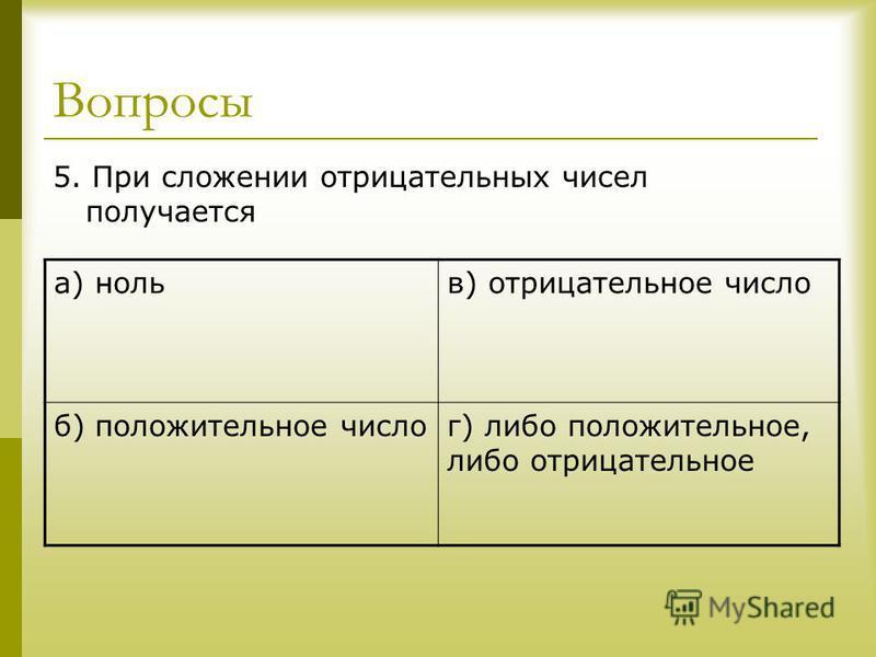 Вопросы 5. При сложении отрицательных чисел получается а) нольв) отрицательное число б) положительное числог) либо положительное, либо отрицательное