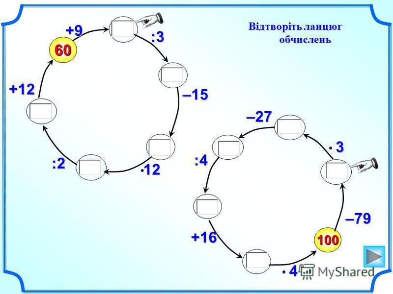 Відтворіть ланцюг обчислень 100 –79460 +9 :3 –1512:2 +123–27 :4 +16
