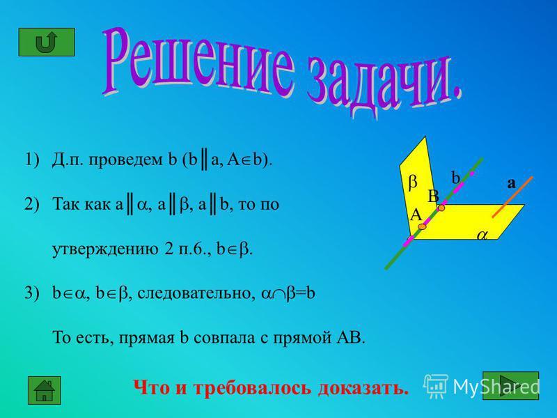 1)Д.п. проведем b (ba, A b). 2)Так как a, a, аb, то по утверждению 2 п.6., b. 3)b, b, следовательно, =b То есть, прямая b совпала с прямой АВ. Что и требовалось доказать. b a А В