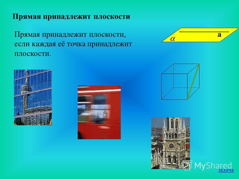 Прямая принадлежит плоскости Прямая принадлежит плоскости, если каждая её точка принадлежит плоскости. а задача