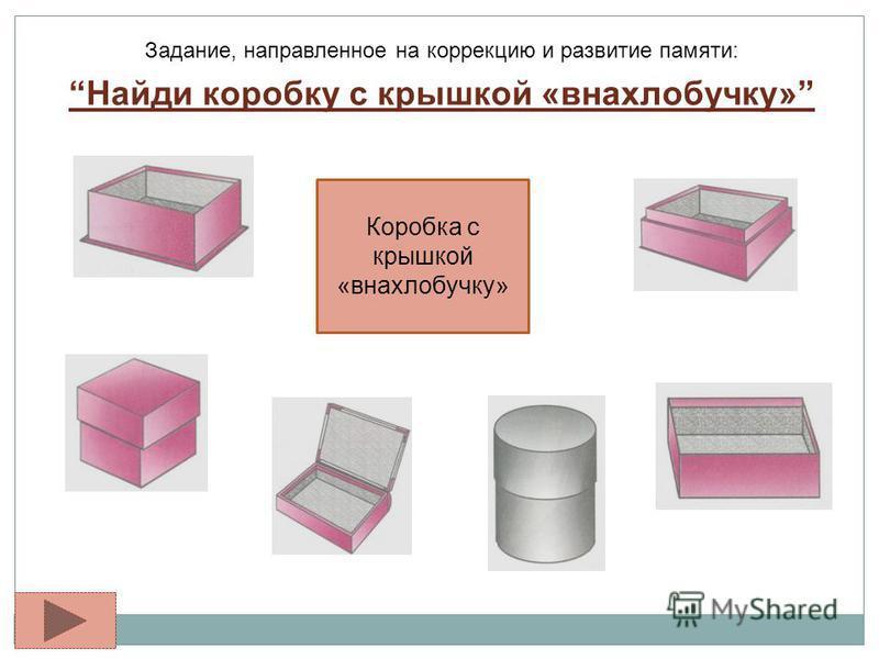 Задание, направленное на коррекцию и развитие памяти: Найди коробку с крышкой «внахлобучку» Коробка с крышкой «внахлобучку»
