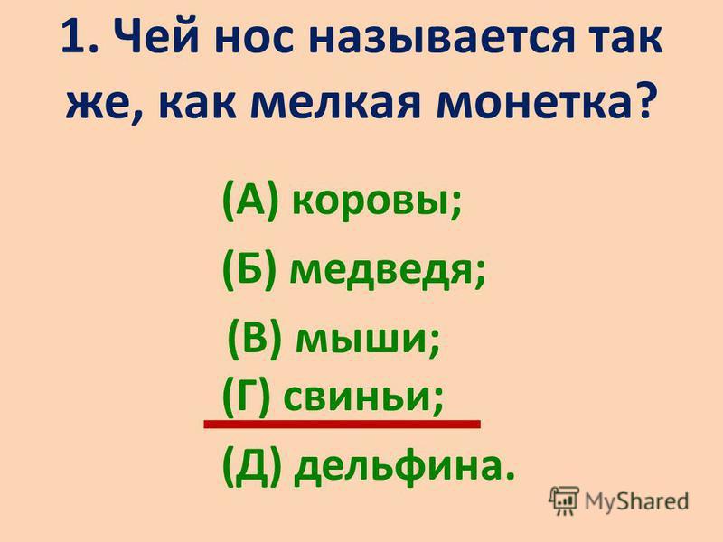1. Чей нос называется так же, как мелкая монетка? (А) коровы; (Б) медведя; (В) мыши; (Г) свиньи; (Д) дельфина.
